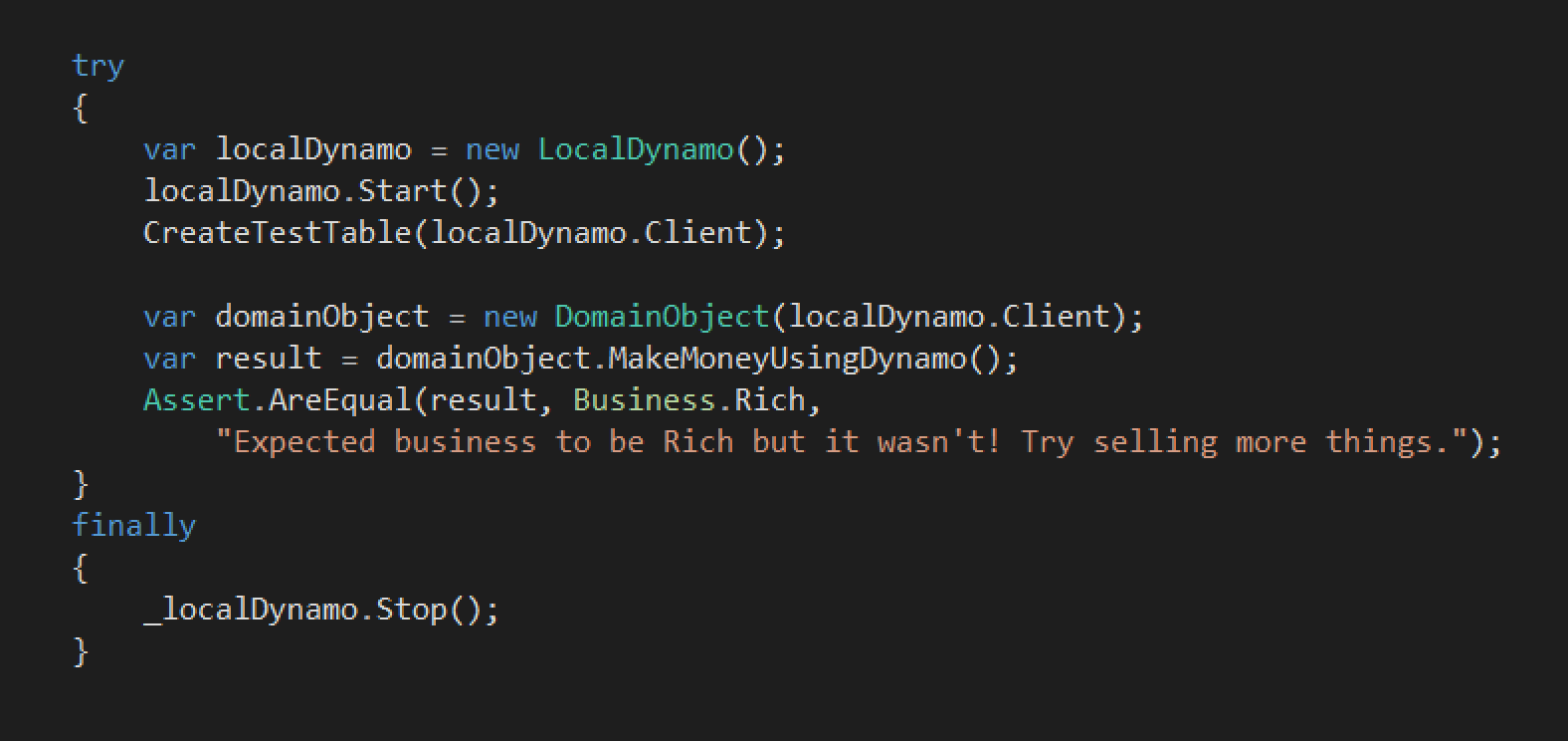 Local Dynamo Test Example