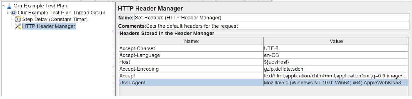 Defining a HTTP header manager